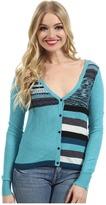 Kensie Soft Slub Knit Cardigan (Aqua Combo) - Apparel