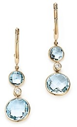 Bloomingdale's Sky Blue Topaz with Diamond Accents Drop Earrings in 14K Yellow Gold - 100% Exclusive