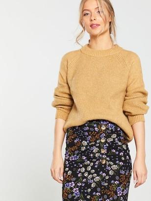 Very Ditsy Floral Button Midi Skirt - Black
