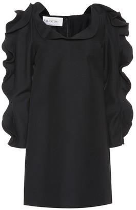 Valentino ruffled wool and silk minidress