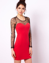 Paprika Bodycon Dress with Spot Mesh Inserts