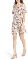 Lush Women's Floral Print Cold Shoulder Wrap Dress