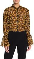 Joseph Ribkoff Metallic Leopard Print Button Down Shirt