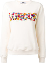 MSGM flower applique sweatshirt - women - Cotton - XS