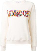 MSGM flower applique sweatshirt