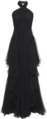 Alberta Ferretti Tiered Pleated Tulle Halterneck Gown