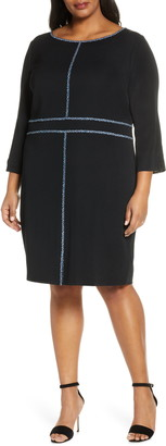 Ming Wang Mosaic Trim Knit Dress