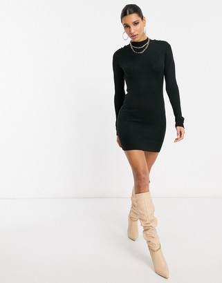 Brave Soul military sweater dress in black