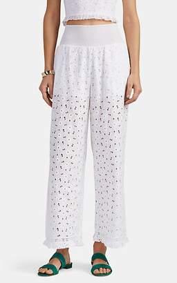 Kisuii Women's Jacqueline Cotton Floral Eyelet Wide-Leg Pants - White