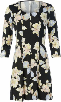NY Collection Women's Petite Size Printed 3/4 Sleeeve Fit and Flare Dress