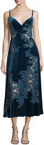 Elie Saab Velvet Lace-Inset Cocktail Slip Dress