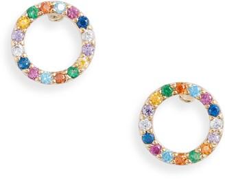 Estella Bartlett Multi Pave Circle Stud Earrings