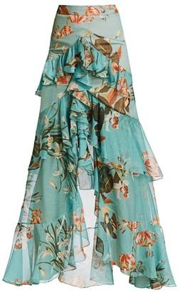 PatBO Carolina Floral High-Low Maxi Skirt