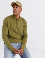 Asos Design DESIGN organic long sleeve jersey polo in khaki