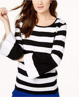 INC International Concepts I.n.c. Striped Poplin-Sleeve Sweater, Created for Macy's