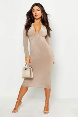 boohoo Slinky Plunge Neck Long Sleeve Midi Dress