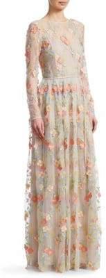 ML Monique Lhuillier Long-Sleeve Floral Mesh Floor-Length Gown