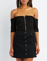 Charlotte Russe Ribbed Zip-Up Off-The-Shoulder Top