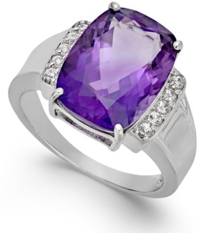 Macy's Amethyst (6 ct. t.w.) & Diamond (1/10 ct. t.w.) Statement Ring in Sterling Silver