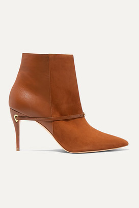 Jennifer Chamandi Nicolo 85 Suede And Leather Ankle Boots - Tan