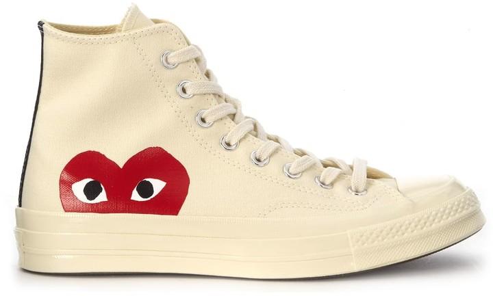Comme des Garcons X Converse High Beige Canvas Sneaker