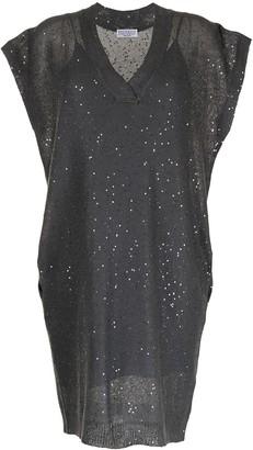 Brunello Cucinelli V-neck sequin-embellished knit dress