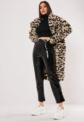 Missguided Sand Leopard Print Oversized Teddy Coat