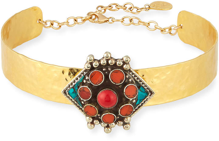 Devon Leigh Choker Necklace with Turquoise & Coral Flower Medallion