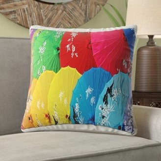 "World Menagerie Azevedo Chinese Umbrellas Throw Pillow Size: 16"" H x 16"" W, Location: Outdoor"