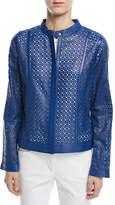 Escada Zip-Front Laser-Lace Leather Jacket