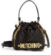Moschino Letters Small Nylon Bucket Bag - White