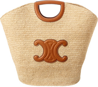 Celine Straw & Leather Tote