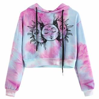 kolila 2020 Women Hoodie Sweatshirts Casual Long Sleeve Tie-Dye Crop Top Hooded Jumper Pullover Blouse Tops Shirts(Purple M)