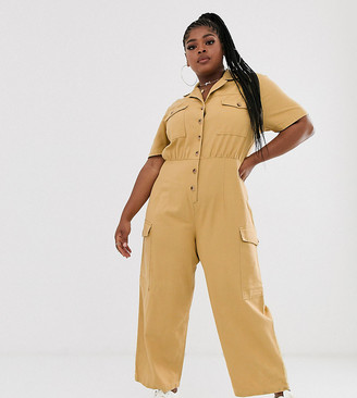 Asos DESIGN Curve denim utility jumpsuit in mustard