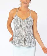 Carve Designs Women's Tank Tops White - White Tile Ruffle-Accent Brandi V-Neck Tank - Women