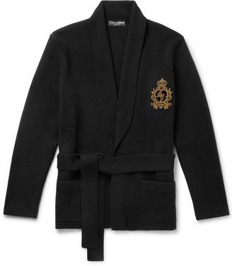 Dolce & Gabbana Belted Logo-Embellished Cashmere Cardigan