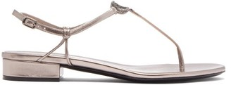 Valentino V-logo Crystal And Leather Sandals - Womens - Grey