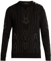 Balmain Moiré-effect Cotton-blend Knit Sweater