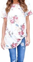 DKmagic New Women T Shirt, Women Summer Casual Short Sleeve Flower Printed Blouse Tops T Shirt (XL, )