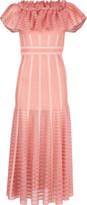 Alexander McQueen Off Shoulder Sheer Knit Dress