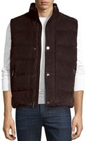 Michael Kors Suede Puffer Vest, Chocolate