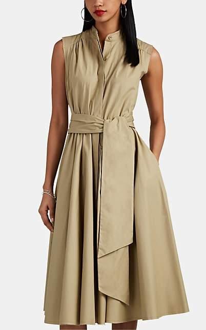 Barneys New York Women's Pleated Cotton Poplin Belted Midi-Dress - Camel