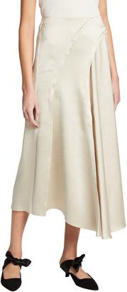 Vince Asymmetric Seam Tassel Midi Skirt