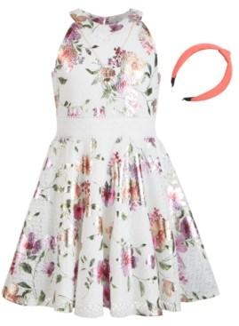 Beautees Big Girls Floral-Print Lace Dress