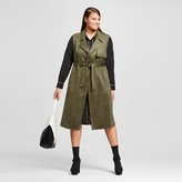 Who What Wear Women's Plus Size Suede Sleeveless Trench Vest