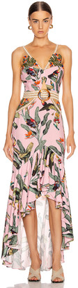 PatBO Embroidered Tropical Print Belted Midi Dress in Pop Pink | FWRD