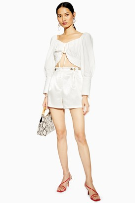 Topshop Womens Satin Button Shorts - Ivory