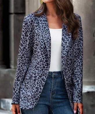 Romantichut Women's Blazers gray - Gray Leopard Blazer - Women