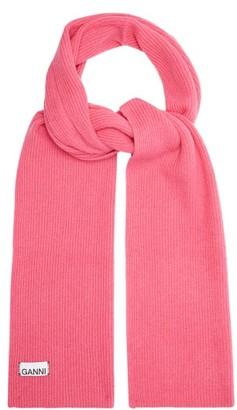 Ganni Ribbed Wool-blend Scarf - Womens - Pink