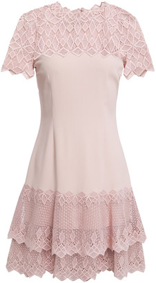 Jonathan Simkhai Tiered Guipure Lace-paneled Crepe Mini Dress